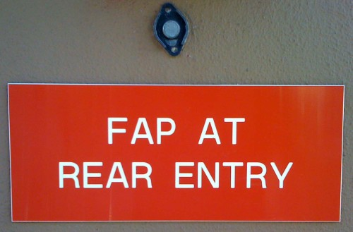 Fap At Rear Entry Sign