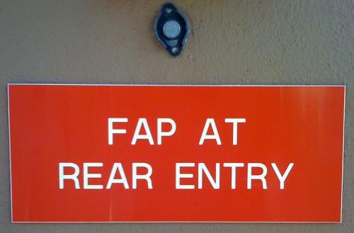 Fap At Rear Entry Sign
